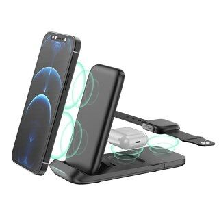 HOCE Bộ Sạc Không Dây Ba Trong Một Bộ Sạc Gắn Tường Đế Gập Dọc Đế Không Dây Sạc Nhanh 15 W Cho Apple Watch Cho iPhone 13 12 Pro Max Cho Oppo Realme thumbnail