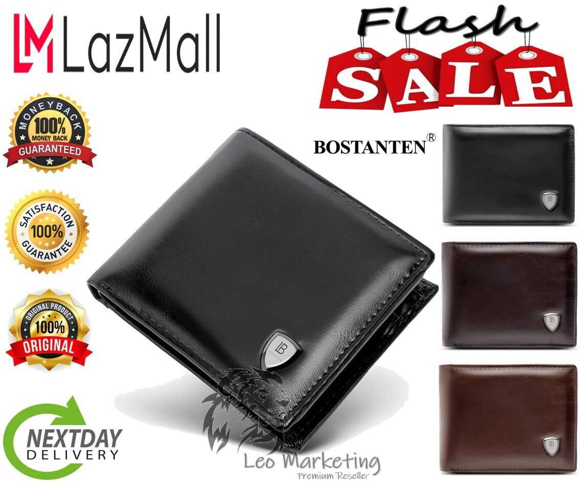 Leo Marketing 100% Original Bostanten Fashion Men's Wallet with Deluxe Credit Card Flip Pocket made By Oxford Leather