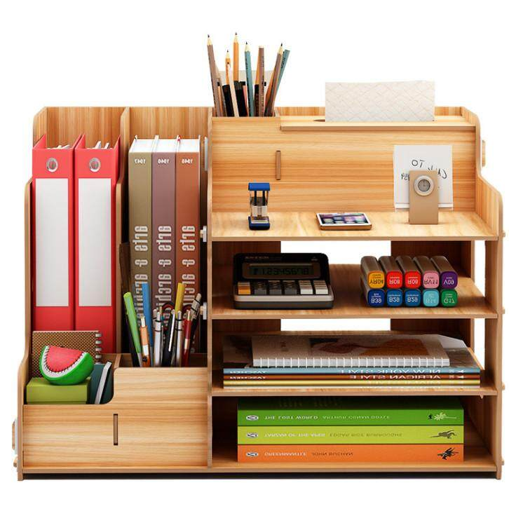 DIY Wooden Desk Organizer Office Storage Box with Tissue Box Document organize