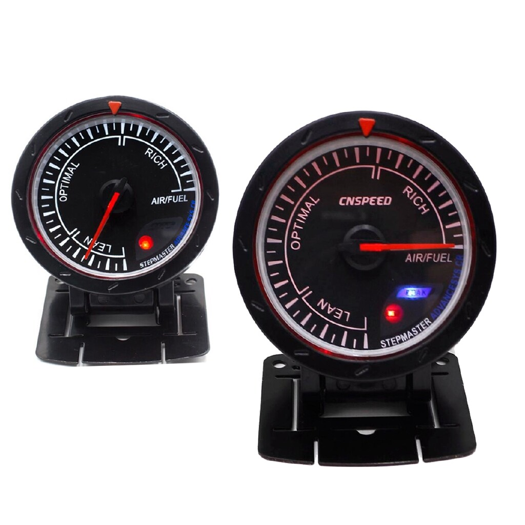 Moto Accessories - 2.5\'\' 60mm Stepper Motor White + Red LED O2 Air Fuel Ratio Gauge AFR Meter Auto - Motorcycles, Parts