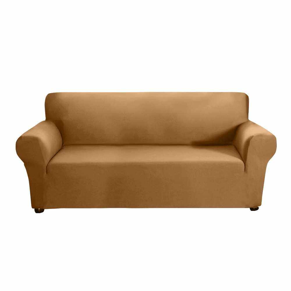 People's Choice Stretch Sofa Slipcover Milk Silk Fabric Anti-Slip Soft Couch Sofa Cover 3 Seater Washable for Living Room Kids Pets(Camel) (Type 3)