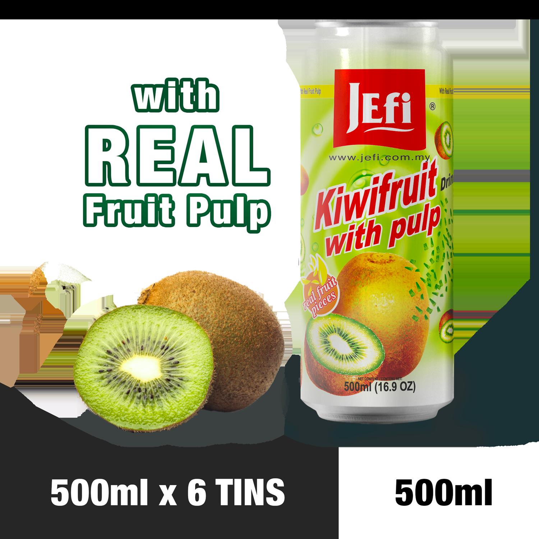 JEFI Kiwifruit Drink with Real Fruit Pulp (500ml x 6tins)