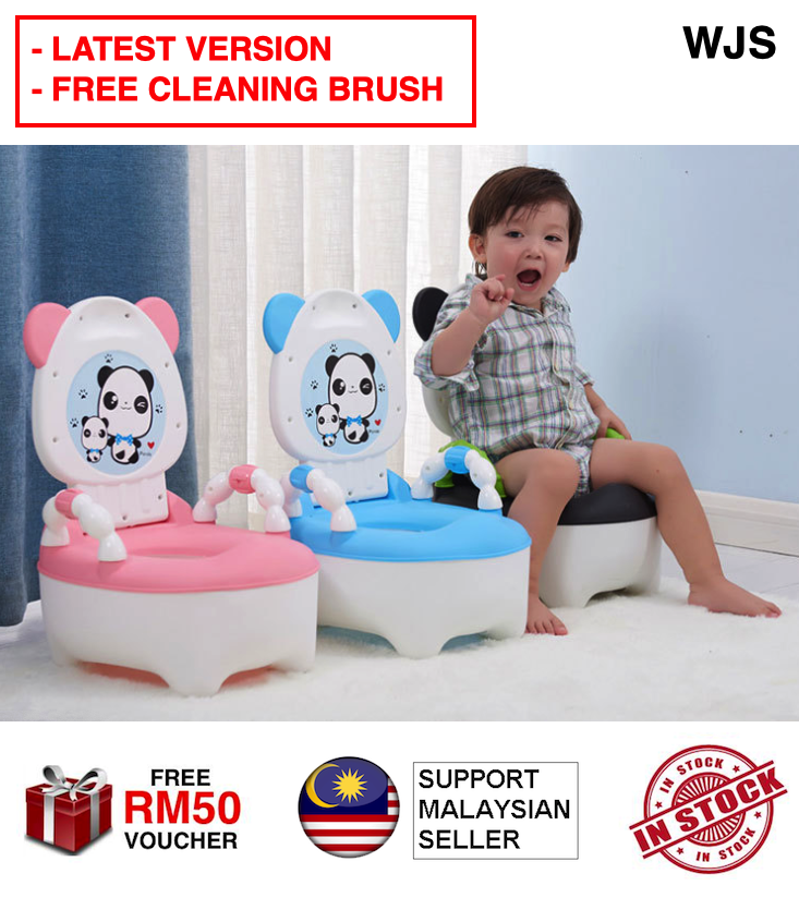 (FREE CLEANING BRUSH) WJS 2020 Version Panda Design Kids Toilet Training Potty Training and Seats Baby Toilet Trainer Children Toddler Pee Poo for Girls and Boys BLACK BLUE PINK [FREE RM 50 VOUCHER]