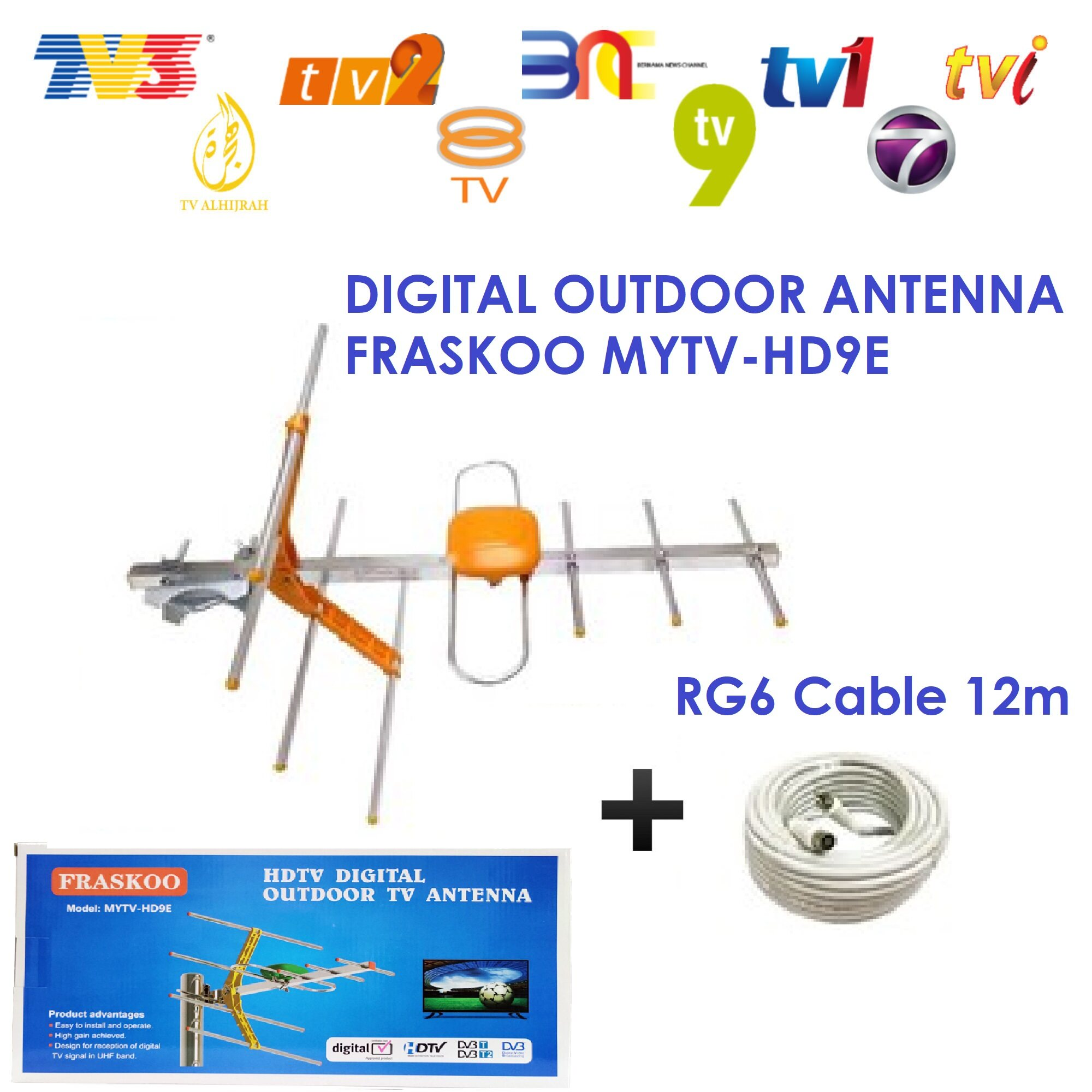 UHF HDTV Outdoor Digital Antenna Watch Myfreeview Antena DVBT2 MYTV 9 Element With 12m Cable