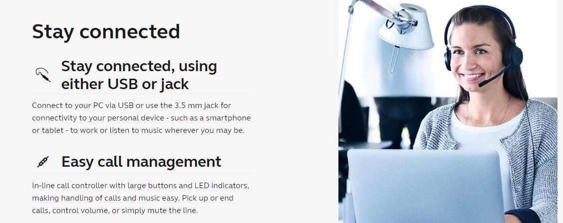 Jabra Evolve 30 II UC Stereo Wired Headset / Music Headphones