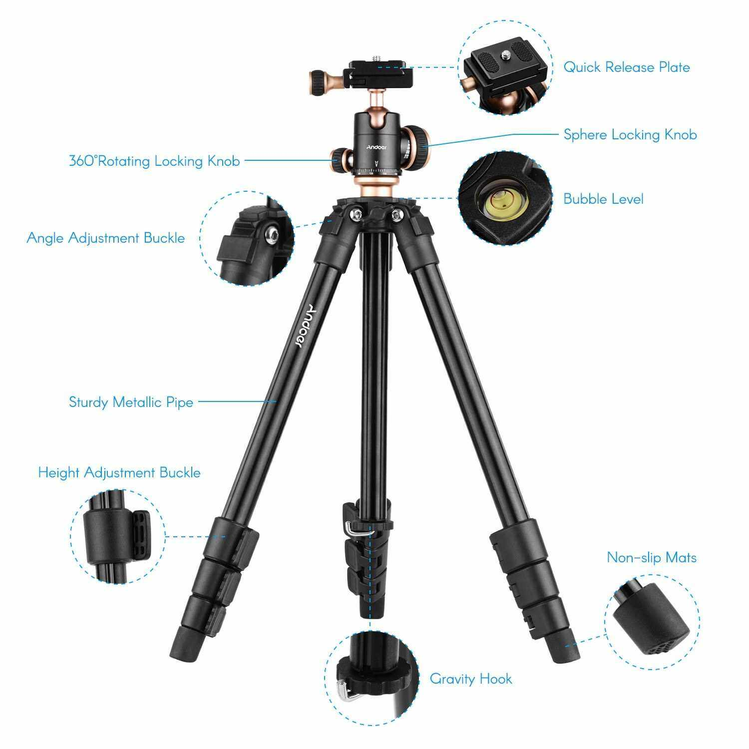 Andoer Q160SA Camera Tripod Complete Tripods with Panoramic Ballhead Bubble Level Adjustable Height Portable Travel Tripod for DSLR Digital Cameras Camcorder Mini Projector Compatible with Canon Nikon Sony (Standard)