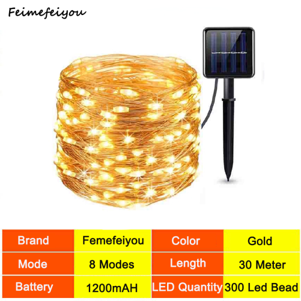 christmas lights christmas decorations Solar light Decoration LED strip light waterproof holiday light 30 meters 300 led beads copper wire powered by solar 8 work modes1200mAH