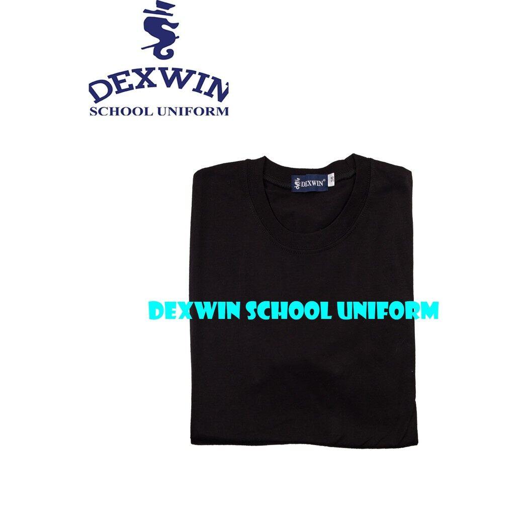 t-shirt hitam leher bulat tangan pendek kain cotton
