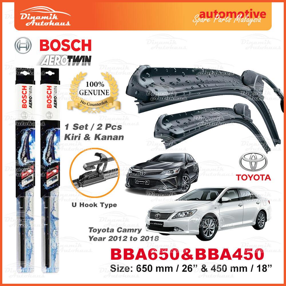 "Toyota Camry Year 2012 To 2018 Car Front Windshield Wiper Blade 26"" / 18"" - Bosch U Hook AeroTwin BBA650 & BBA450 (1 Set)"