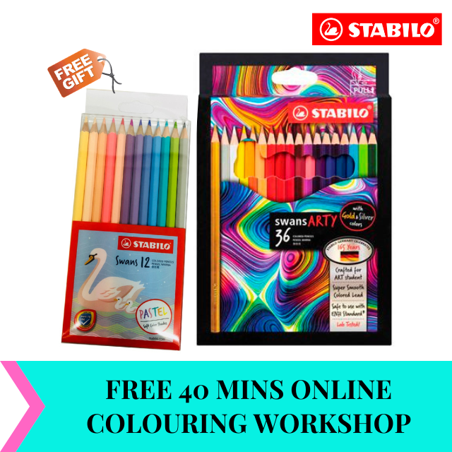 *NEW* STABILO® swans ARTY Color Pencils with silver and gold