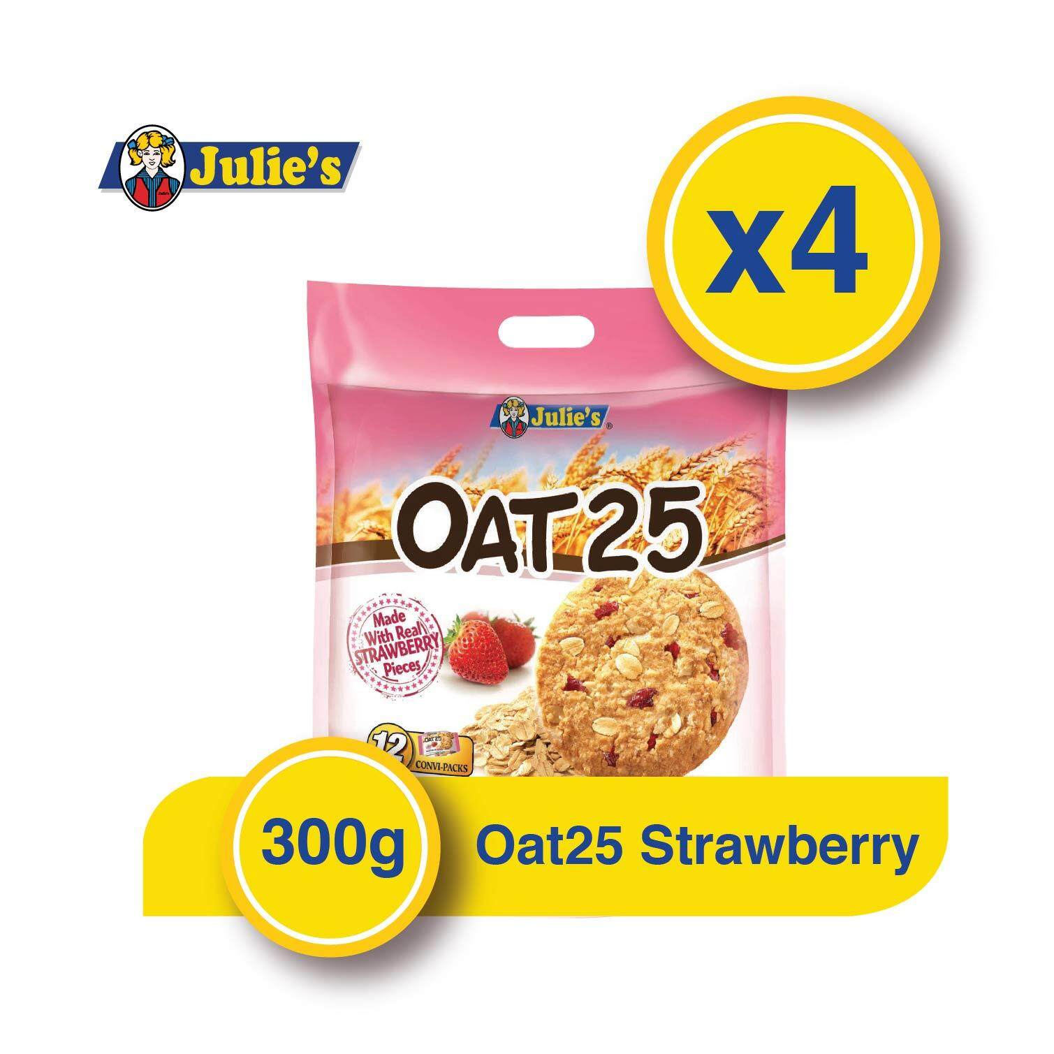Julie\'s Oat25 Strawberry Biscuit 300g x 4 packs + FREE 5 Biscuit Pack