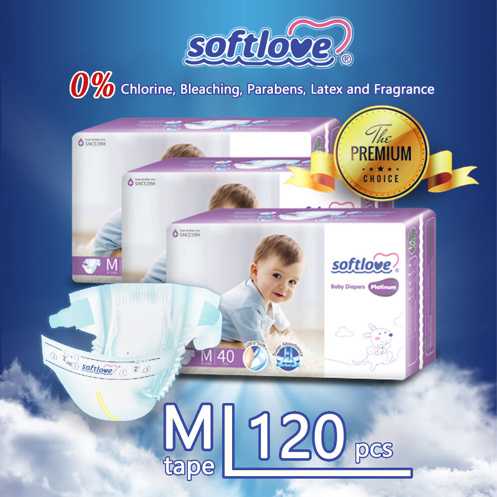 SoftLove Platinum Super Combo Baby Diapers ( Tape ) / M size - 120pcs