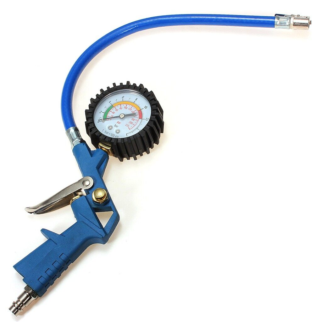 Tyres & Wheels - 2inch Air Tyre Tire Inflator Inflate Hose Dial Pressure Gauge - Car Replacement Parts
