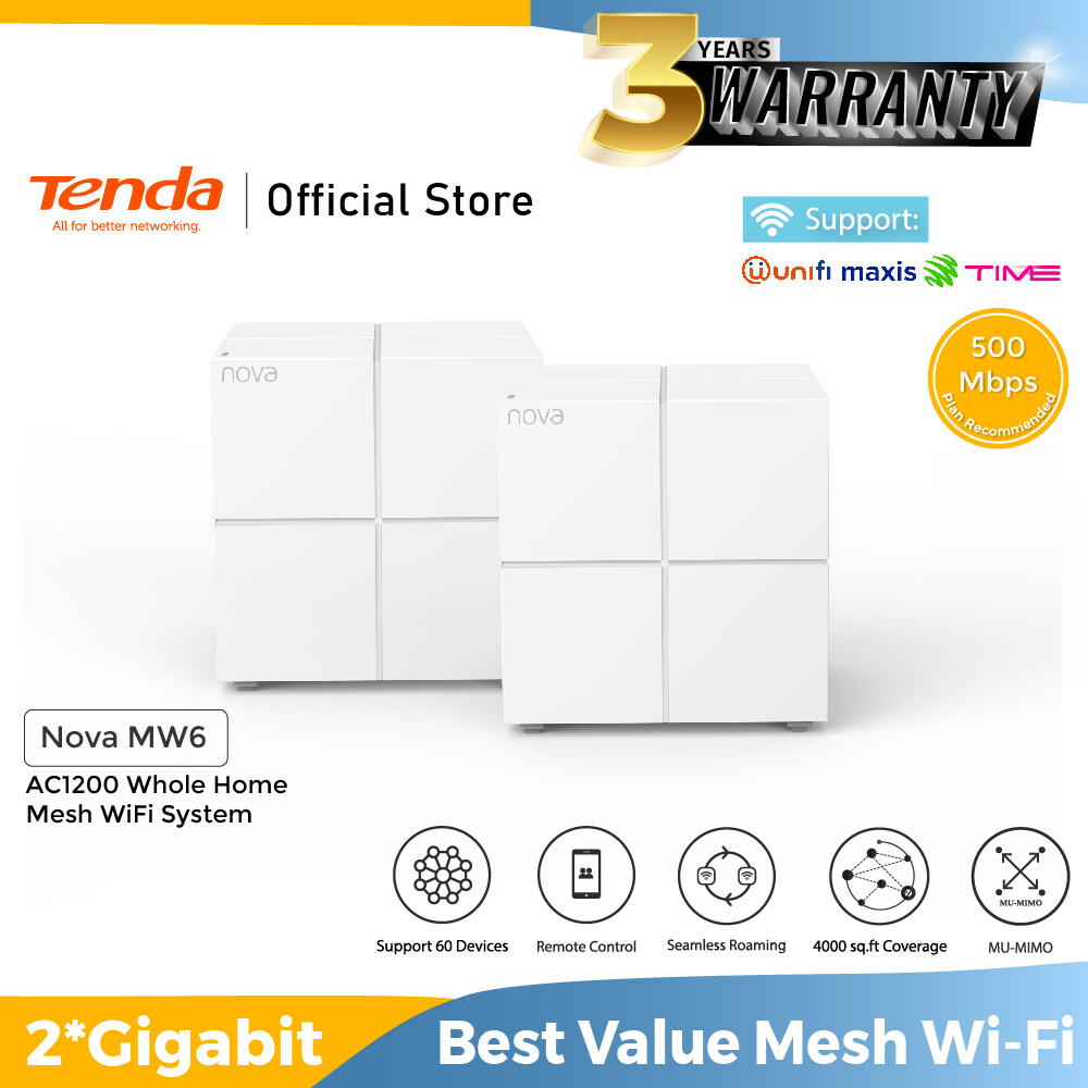 Tenda MW6 AC1200 (2 pack) Whole Home Mesh WiFi Router System