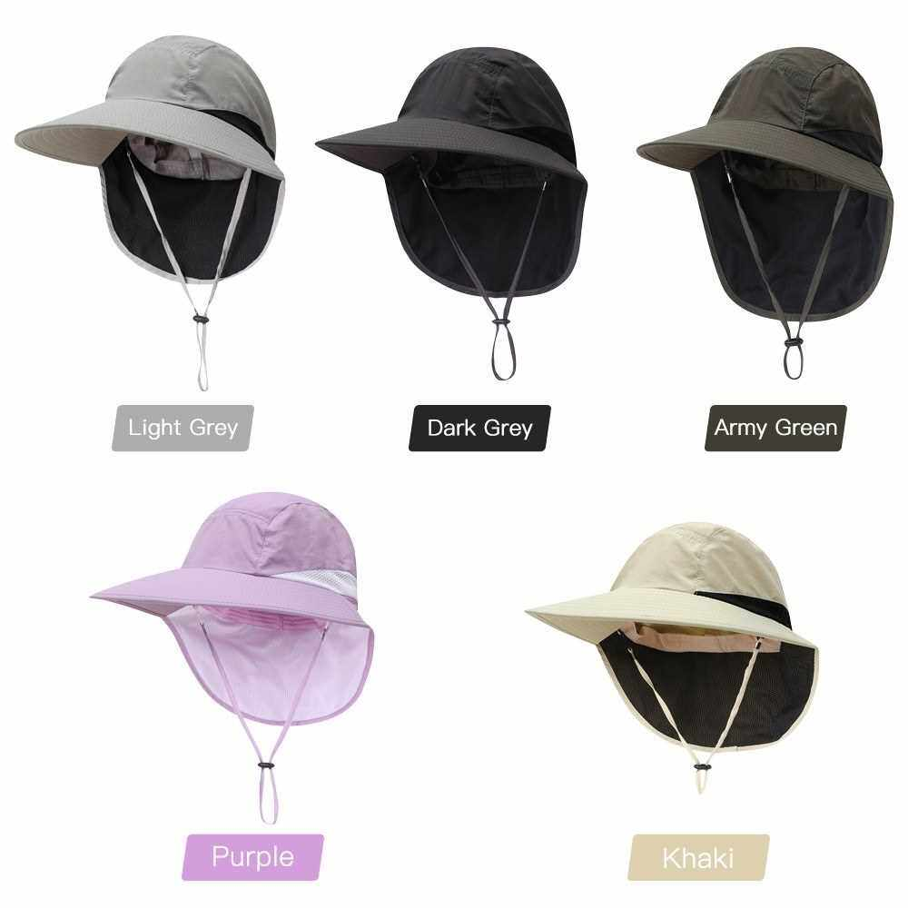 Adjustable Sun Hat Women Men Wide Brim Sun Cap with Neck Flap for Travel Camping Hiking Fishing Boating (Purple)