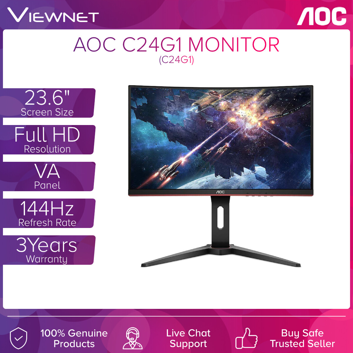 AOC C24G1 23.6 VA Gaming Curved Monitor (1ms/144Hz/VGA/HDMI 1.4 x2/Display Port x2/Curved 1500R)