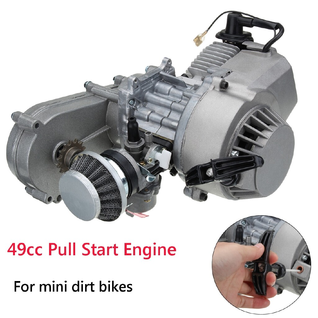 Moto Accessories - 49cc Engine Carb 2-Stroke Electric Pull Start + Transmission MINI Moto Quad Bike - Motorcycles, Parts