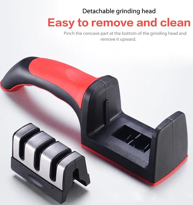 [ READY STOCK BEST SELLER ] Easy To Use Kitchen Knife Fast Sharpener Pengisar Penajam Pisau Dapur Safe and Easy Stainless Steel 3 Stage Sharpening Stone with Handle Fast Delivery Malaysia