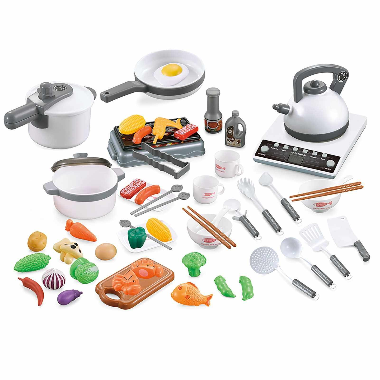 Best Selling 52PCS Kitchen Play Toy Kids Pretend Playset with Cookware Pots and Pans Set Play Food Fruits Cooking Utensils Toy Cutlery Early Educational Toys for Girls Boys Kids (White)