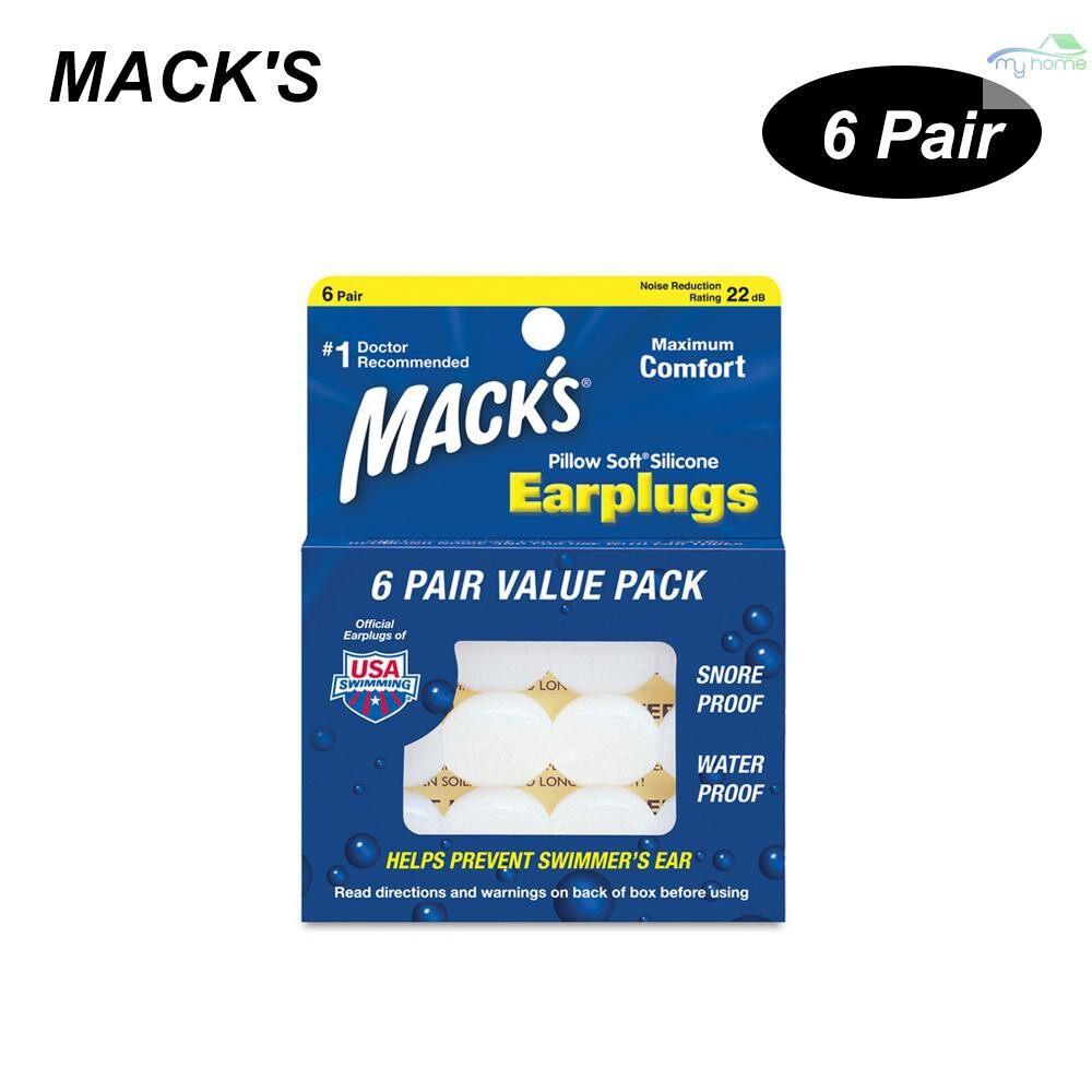 Ear Care - MACK'S 6 Pairs Anti-noise Silicone Earplugs Professional Waterproof Swimming Earplugs Hearing - CHAMPAGNE / ORANGE / WHITE