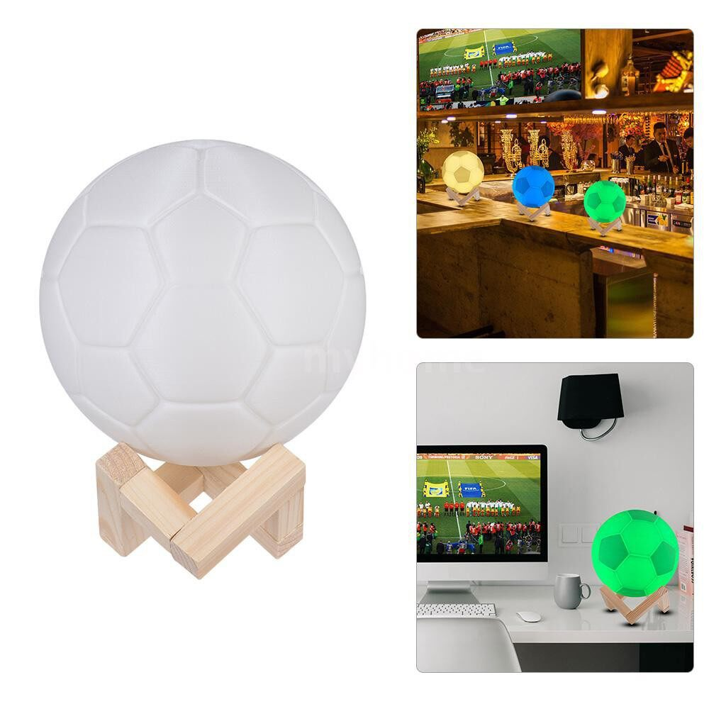 Table Lamps - 7-Color World Soccer Game Football Lamp LED Soccer Ball Night Light with Wood Bracket for Bars - WHITE-18CM / WHITE-13CM / WHITE-10CM / WHITE-8CM