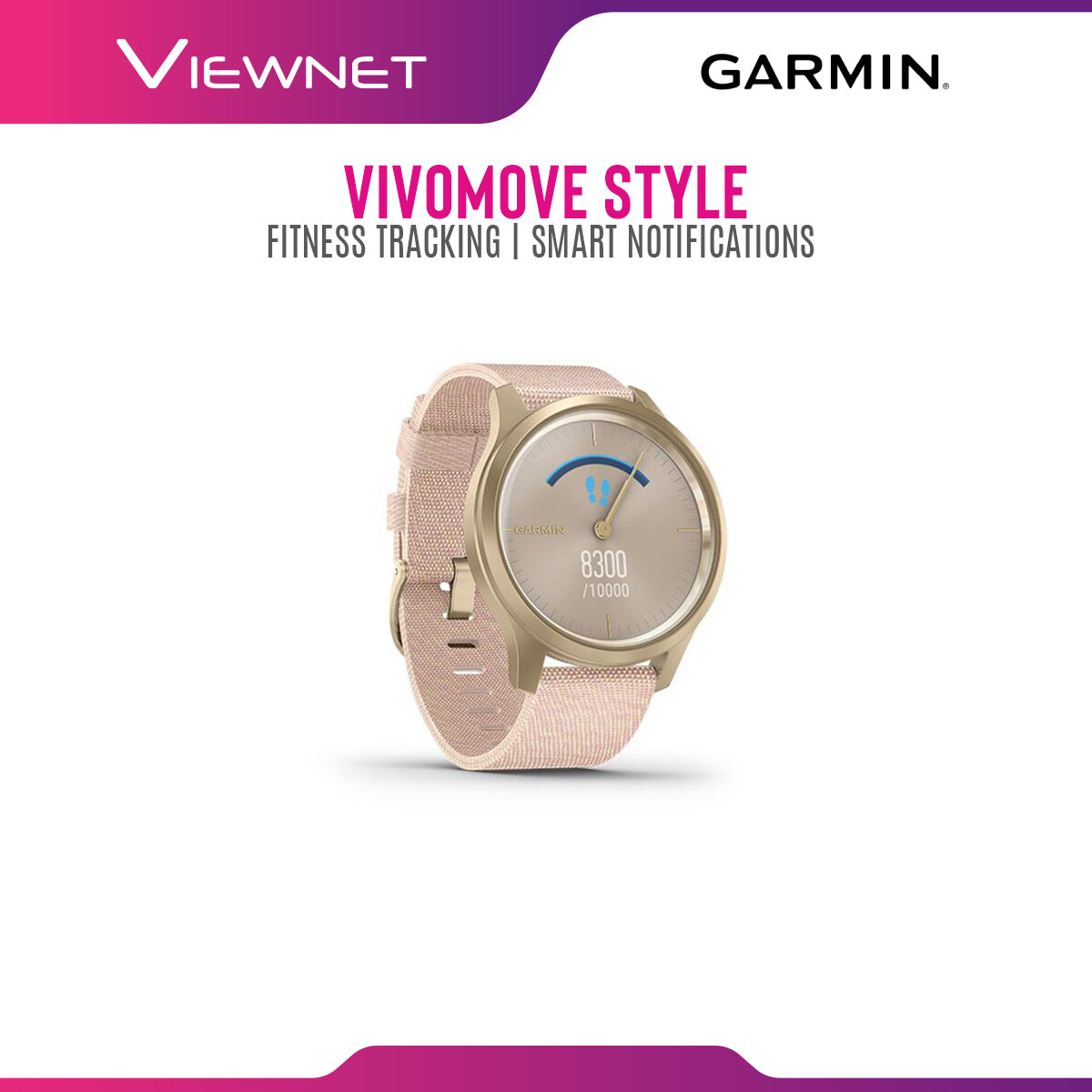 (NEW 2019) Garmin Vivomove Style GPS Smartwatch with smart notifications, hidden display, & Fitness tracking