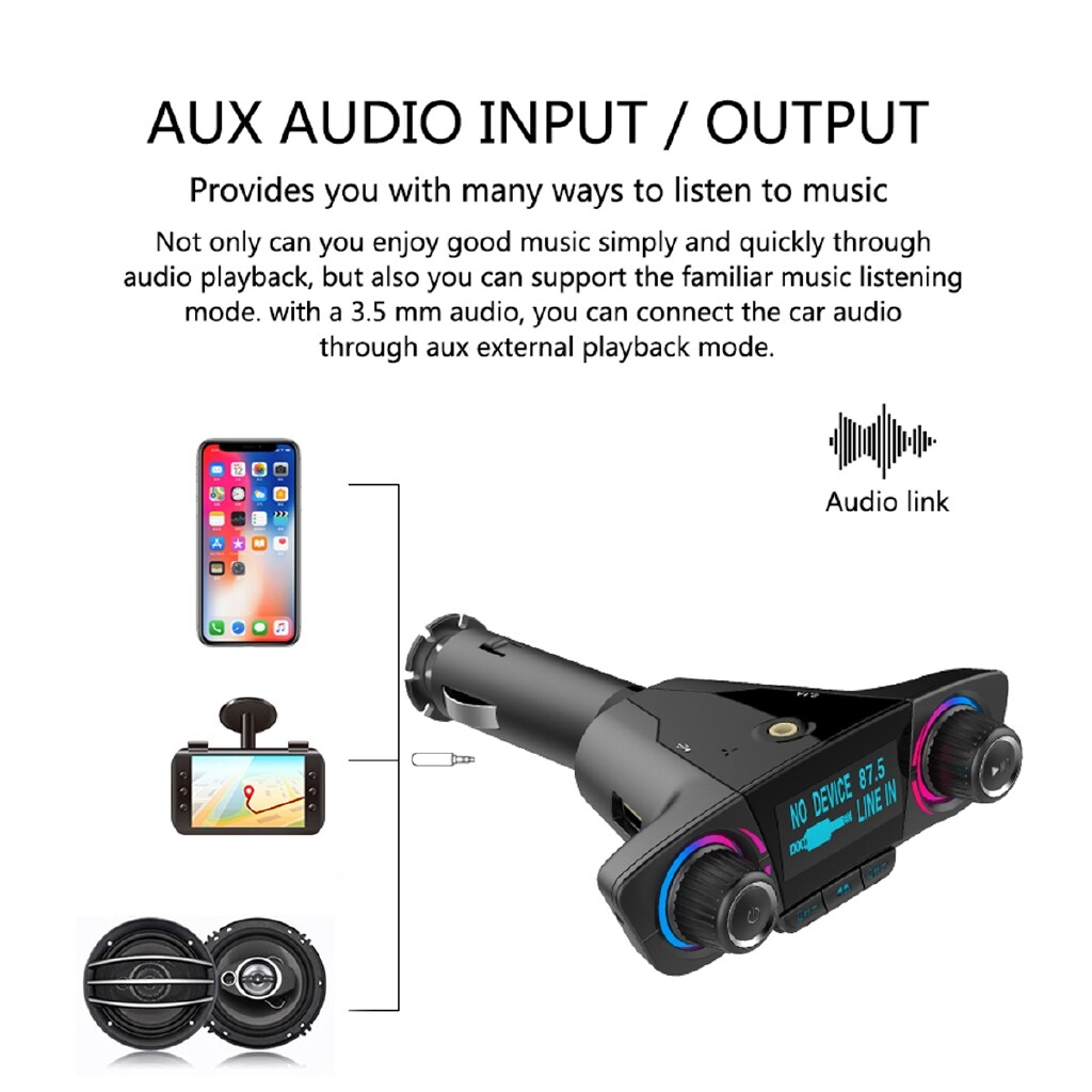 Vehicle Speakers & Subwoofers - Car BLUETOOTH Handsfree MP3 Music Player USB2.1A+1A FM Transmitter AUX 12V 24V - Car Electronics