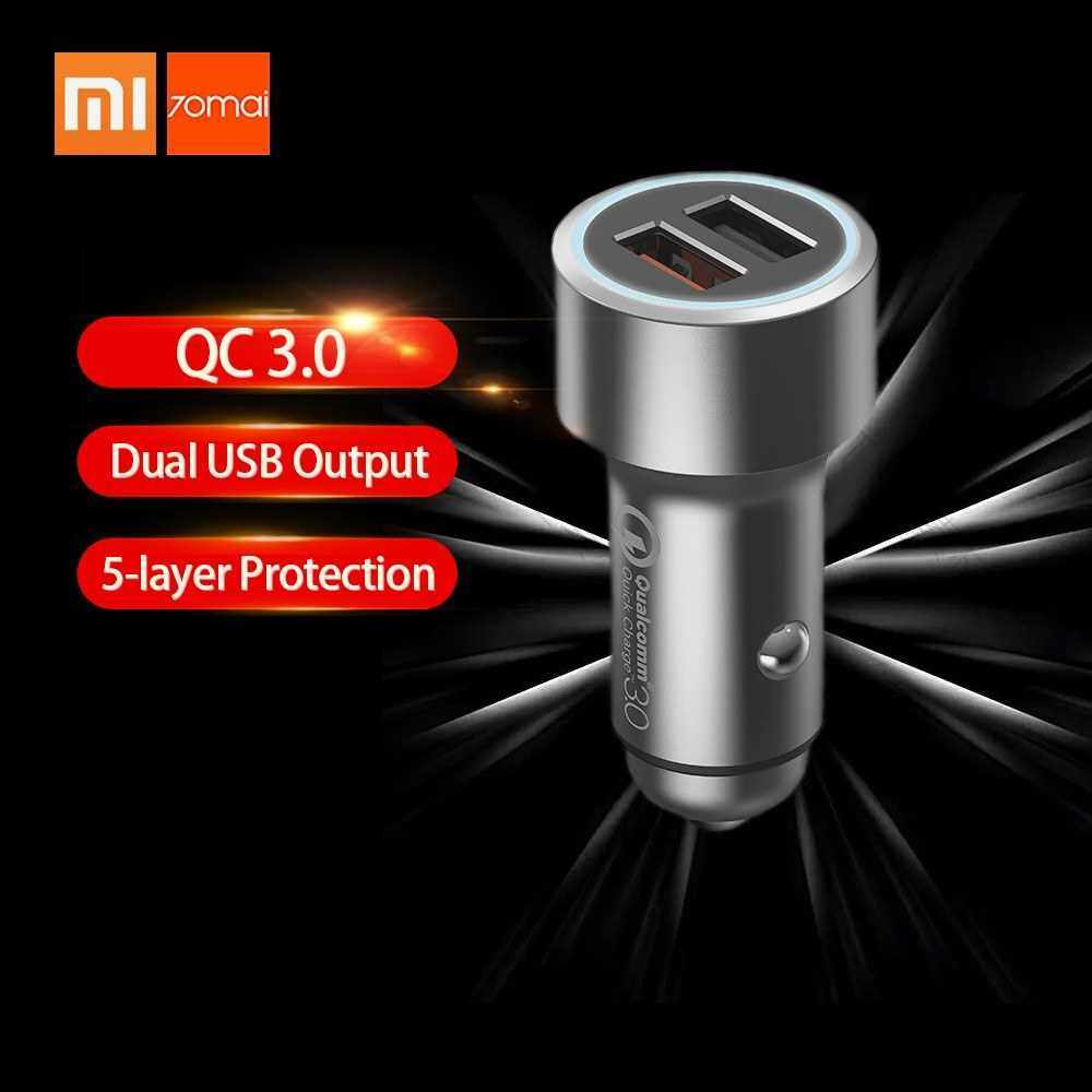 Best Selling Xiaomi 70Mai Car Charger Quick Charge 3.0 Dual USB Output Multiple Protection Fast Car Charger Phone Charger With LED Display For iPhone Huawei Samsung Midrive CC02 (Standard)