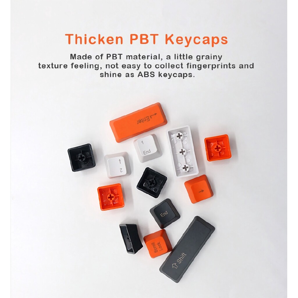 Keyboards - OEM Profile PBT Thicken Keycaps Keycap SET for Mechanical Keyboard Game 104 Key - NO PRINTED-GREY / TOP PRINTED-ORANGE / NO PRINTED-ORANGE / SIDE PRINTED-ORANGE / SIDE PRINTED-GREY / TOP PRINTED-GREY