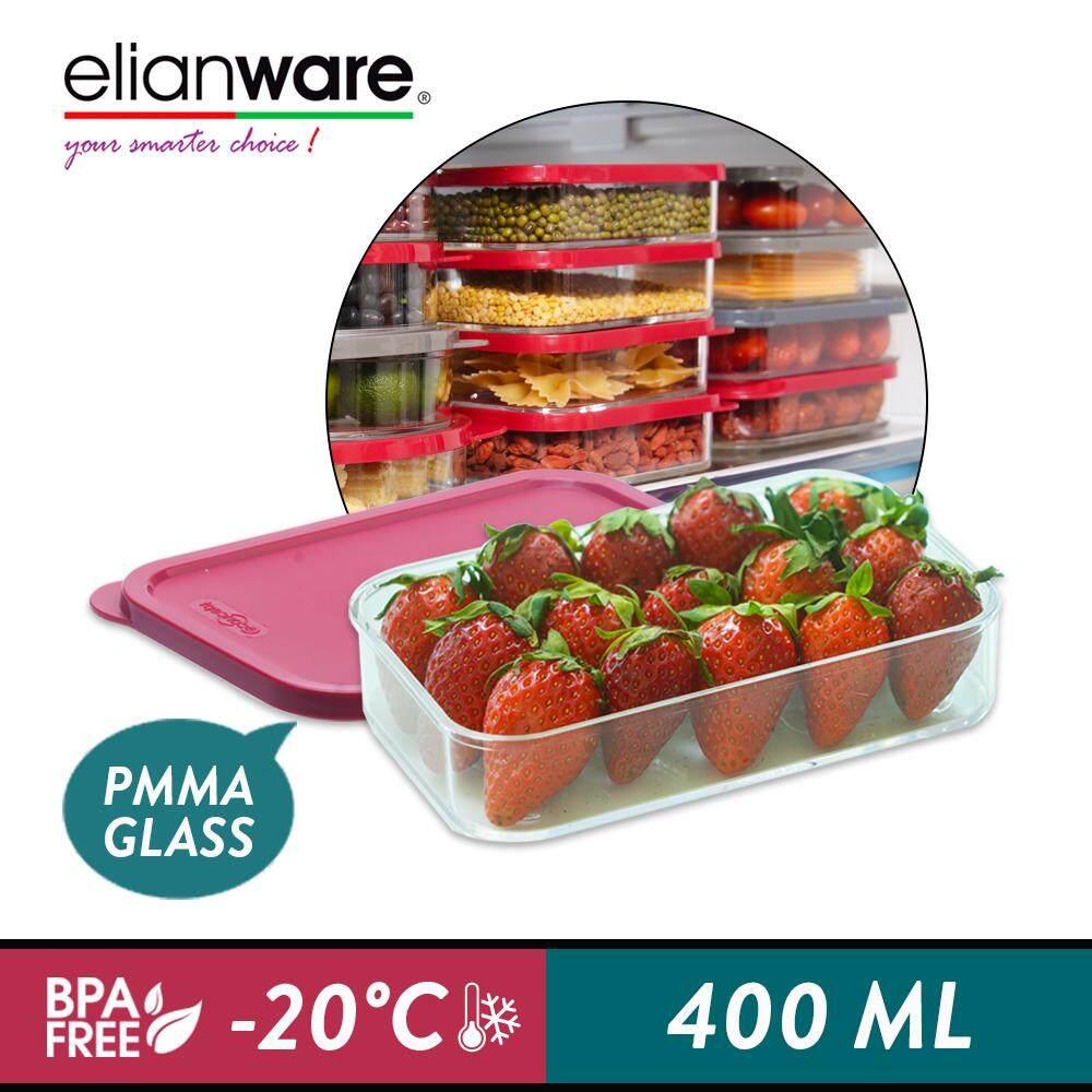 Elianware E-Concept (400ml) Rectangular Acrylic BPA FREE Microwavable Kitchen Fridge Freezer Organizer