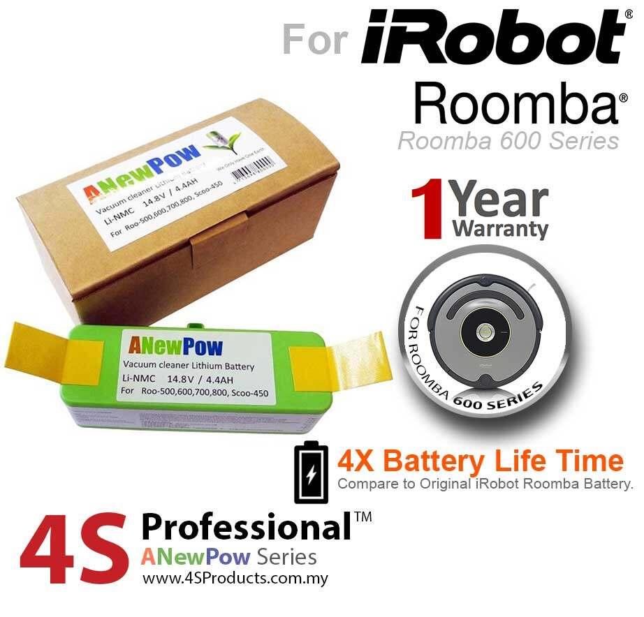 iRobot Roomba 600, 614, 620, 650, 655 Lithium Battery High Capacity 4400mAH