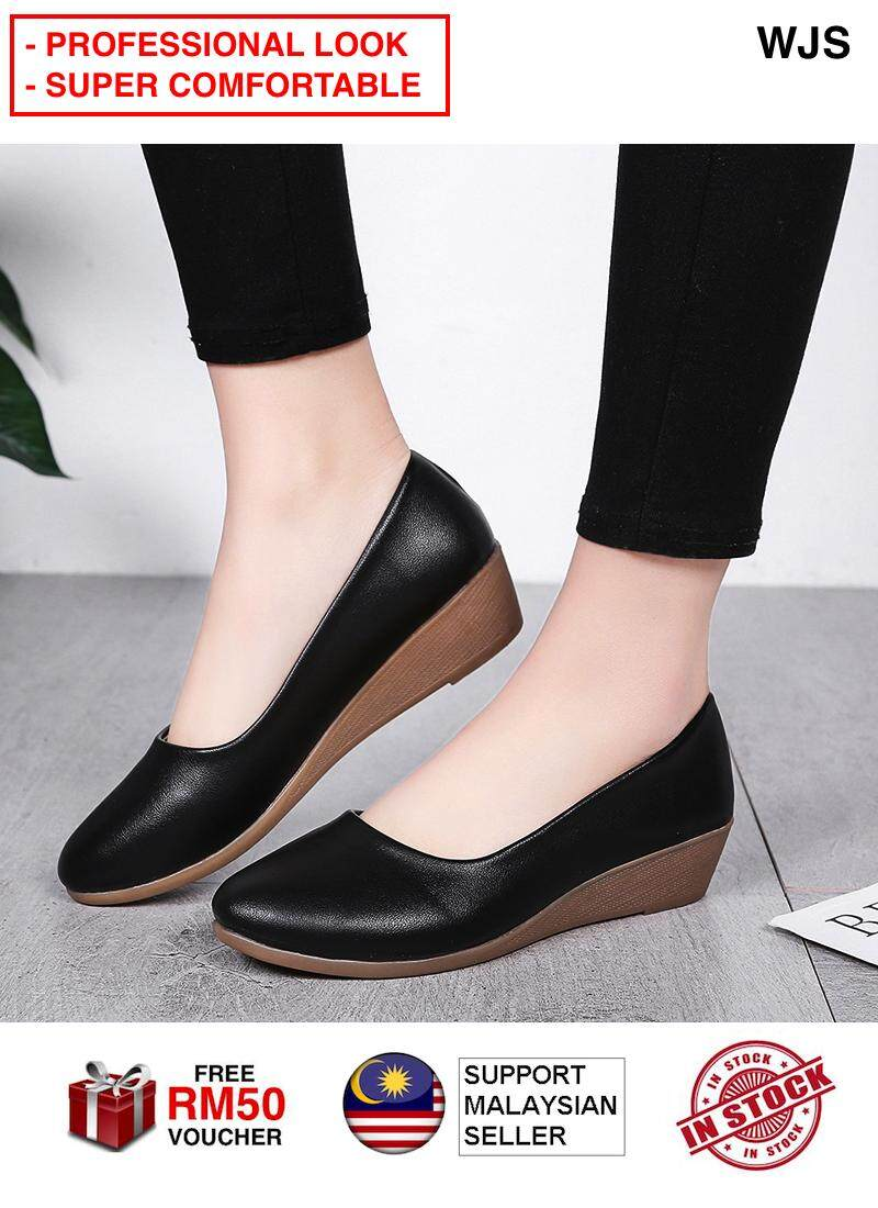 (PROFESSIONAL LOOK) WJS Women Office Slipons Slip Ons Business Wedge Office Shoe Low Heels Closed Toe Wedges Kasut Perempuan BLACK BROWN BEIGE [FREE RM 50 VOUCHER]