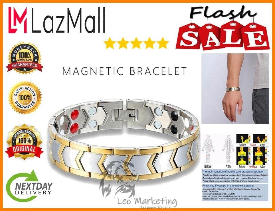 Leo Marketing 100%Original Men's Health Energy Bracelet Bio Magnetic Bracelets Plated Jewelry Bangle 18K with Box