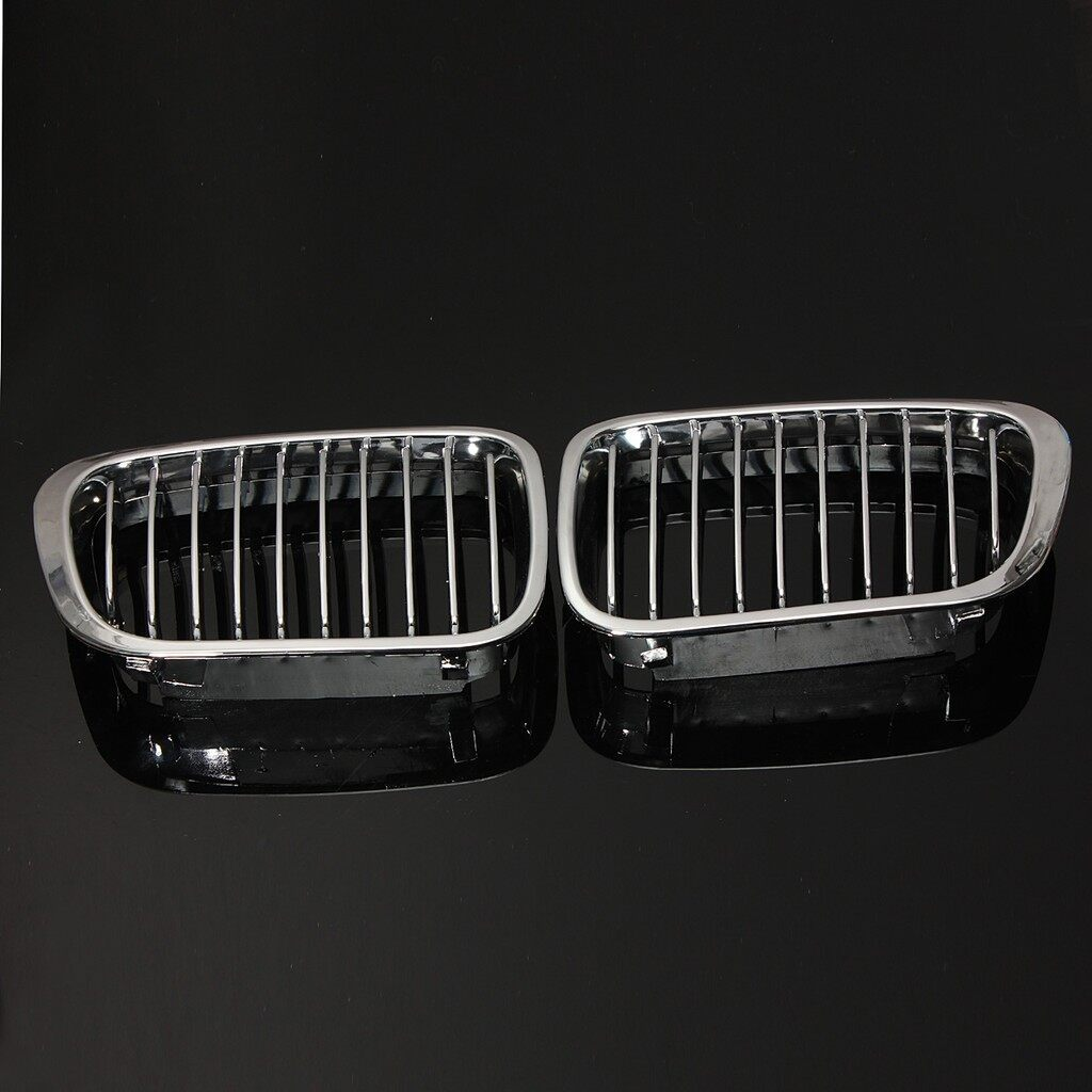 Car Accessories - A Pair Front Kidney Chrome Glossy Grille For BMW E46 3 Series 4 Door 4 DR 97-01 - Automotive