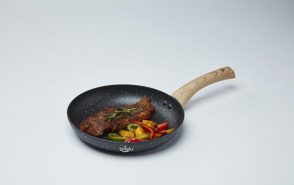 Shefu 24cm Non-stick Aluminium Frying Pan Marble Stone Wok Frying Pan