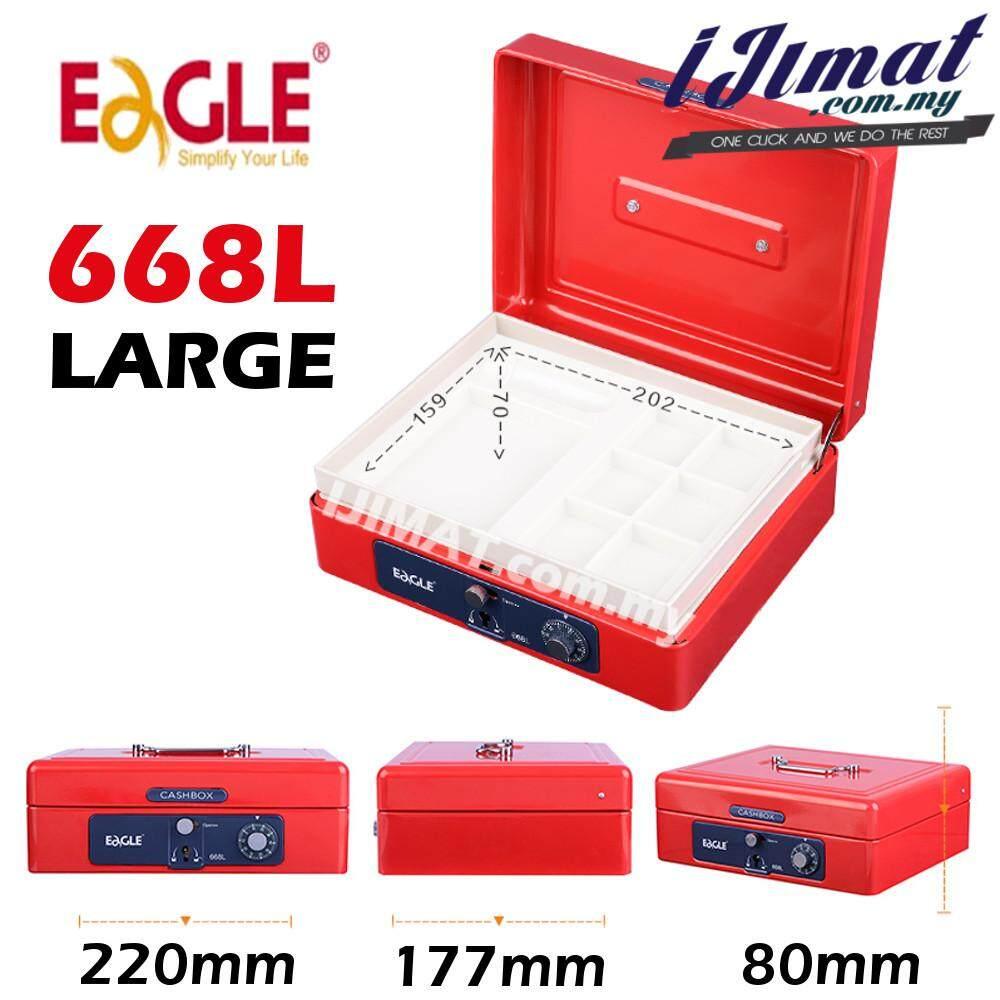 EAGLE 668L Large CASH BOX, PETTY CASH BOX LARGE (BLUE / RED) KEY & NUMBER LOCK