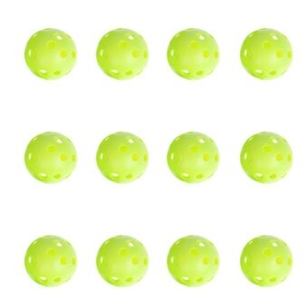 Harga 12pcs Green Plastic Whiffle Airflow Hollow Golf Practice TrainingBalls (Green)