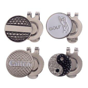 Andux 4pcs/set Golf Hat Clips with Golf Ball Markers GMJ-01