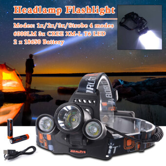 Harga Boruit Diamond White 6000LM Cree XML T6 LED HeadLamp TorchHeadLight Rechargeable LD374
