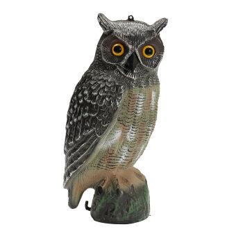 Fake Standing Owl Bird Hunting Shooting Decoy Deterrent Repeller Garden Decor NEW