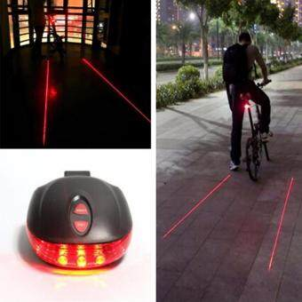 Harga HengSong Red Bicycle 5 LED Light 2 Lasers Night Mountain Bike Tail Light Taillight MTB Safety Warning Bicycle Rear Light Lamp Bycicle Light