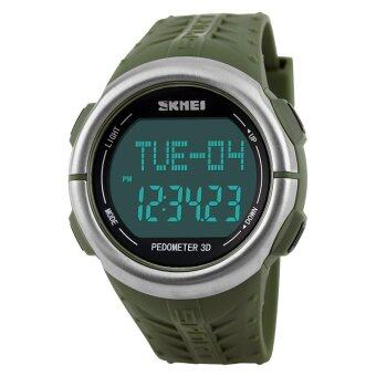 Harga SKMEI 1058 LED Backlight Heart Rate Monitor Pedometer Sport Watch (Army Green)