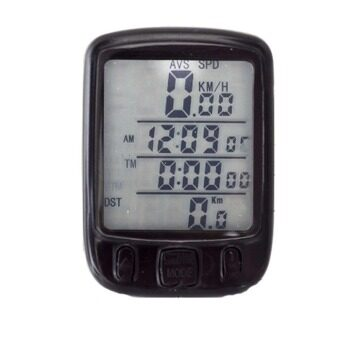 Harga Cyber Waterproof Bicycle Bike Cycle Wired LCD Digital Computer Speedometer Odometer White LED Backlight 563B(Black)