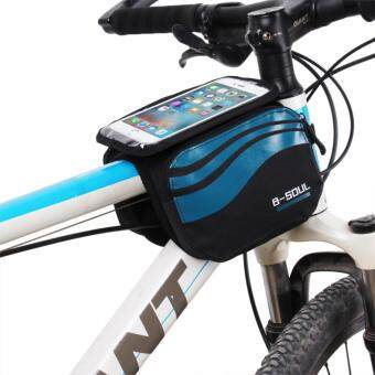 Harga Bicycle Front Touch Screen Phone Bag MTB Road Bike Cycling Mobile Bag Cycle Front Bag 5.7 inch Cellphone Bag Bicycle Accessories (Blue)