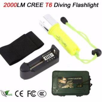 Harga FFY 2000LM T6 LED Diving Flashlight Torch Portable Underwater 50M Scuba Waterproof Flashlights Torch Light Lamp +Charger+box (yellow)