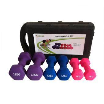 Harga 10kg Weider Home Gym Training Matte Dipped Coated Hex Dumbbell Sets with Storage Case