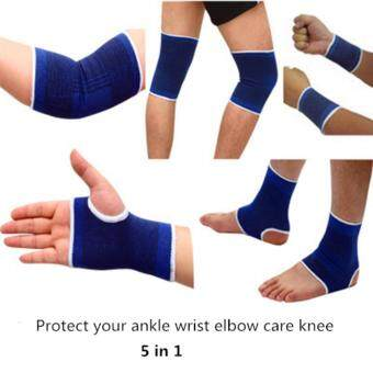 Harga 5 in 1 Fitness Exercise Protective Gear Ankle Bracelet Elbow Riding Equipment Knee Palm