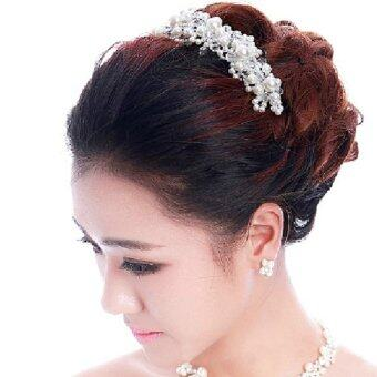 Harga White Imitation pearl crystal bride headdress Wedding dress accessories bridal hair jewelry
