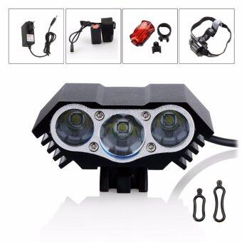 Harga 3x CREE XM-L T6 LED Cycling Bike Bicycle Light Head front Lights flash light+Back Safety Rear Light + 6400mAH Battery Charger