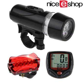 Harga niceEshop Wired Bicycle Speedometer And 5 LED Mountain Bike Cycling Head Light 5 LED Bicycle Rear Lights Lamp Bicycle Accessories Set